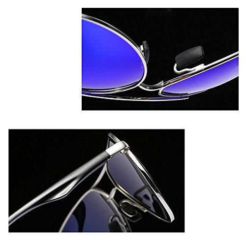 Jambes soleil nocturne soleil Pilote de Lunettes vision de Miroirs Lunettes Miroir Lentille Aluminium Lunettes conduite Métal Magnésium de Hommes polarisées blue de R6qxESvwP