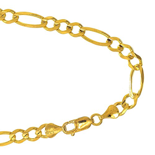 - JewelStop 10k Solid Yellow Gold 4.5mm Figaro Chain Bracelet, Lobster Claw Clasp- 7