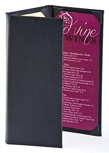 ((25) Wine List Menu Covers with 3-Panel, 3-Page View Design, Hardback Bar Menu Presenters with Angled Corners, Black, Synthetic Leather - 5