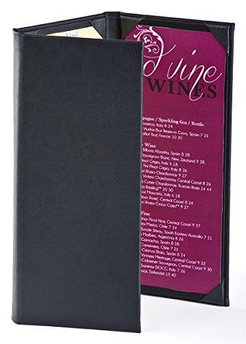 (Twenty-Five Wine List Menu Covers with Three-Panel, Three-Page View Design, Hardback Bar Menu Presenters with Angled Corners, Black, Synthetic Leather - 5 x 11.5 x 1 Inch)