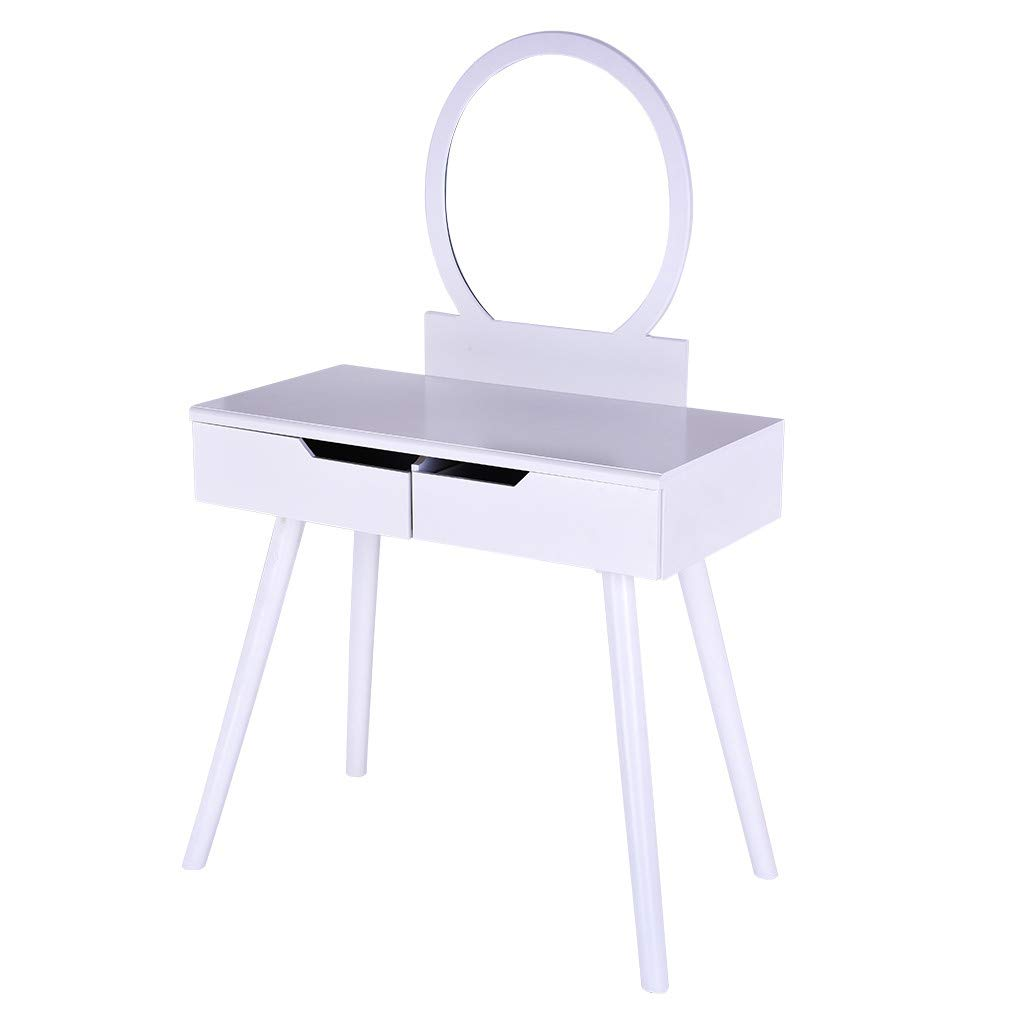 HEHEAL Round Mirror 2 Large Sliding Drawers Makeup Dressing Table with Cushioned Stool -100% Brand New (Self-Operated Warehouse - White)