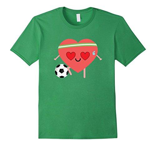 Men's Soccer Heart Emoji Love Eye Shirt T-Shirt Football Tee 3XL Grass