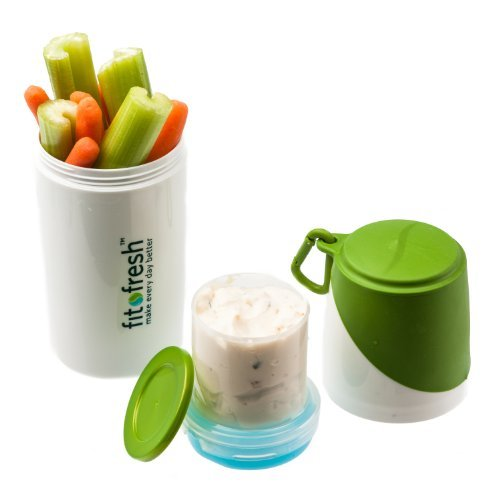 Healthy Food Snacker Chilled Food Container for Snacks (White/Green) (8H x 3W x 3D) by Fit & ()