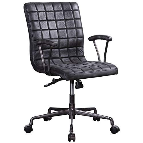 (ACME Furniture 92557 Barack Executive Office Chair Vintage Black Top Grain Leather and Aluminum)