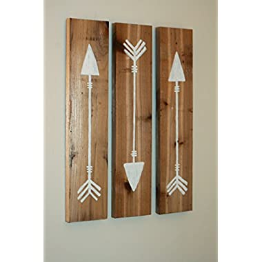 Reclaimed Wooden Arrows White, 3 Piece Set, Primitive Wooden Arrows, Hand Painted