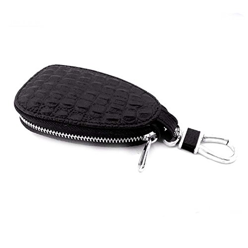 (Car Key Chain Leather Key Case Zipper Bag Remote Key Holder with Metal Hook,Brown)