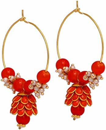 Jaipur Mart Indian Traditional Look Pearl Beaded Colored Pacchi Jhumki Earrings