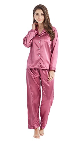 Classic Womens Pajama Set (Tony & Candice Women's Classic Satin Pajama Set Sleepwear Loungewear (Small, Light Burgundy))