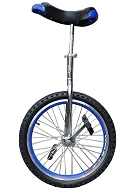 "Fantasycart 24"" Unicycle Cycling In & Out Door Chrome Blue with skidproof tire"