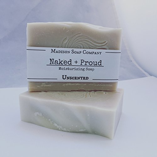Unscented. Naked + Proud Soap, Moisturizing Organic Handmade Shea Butter Soap. Fragrance Free. Palm-Free. Cruelty-Free. Gluten Free. Free Shipping.