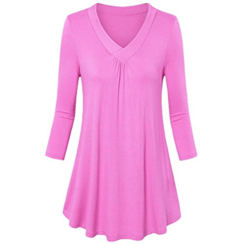 V-Neck Long Sleeve Top Clearance Womens Fashion Plus Size Solid Pleated T-Shirt Tops Blouse Pleated Pleated Hem Top Duseedik