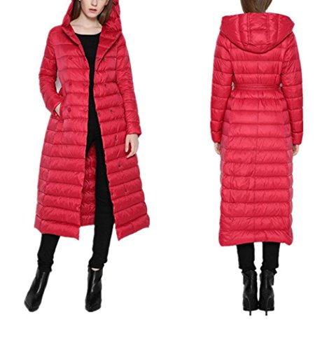 Package Coat S Winter Color Coats Slim Snowy Zipper RED Long Women Hooded Jacket Warm Solid Jacket Pocket Lightweight Down Autumn Section And 4aA18Av
