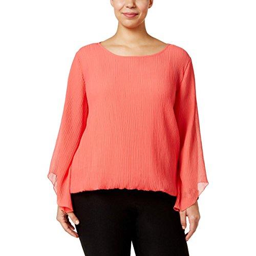 Alfani Womens Plus Chiffon Pleated Blouse Orange 0X from Alfani