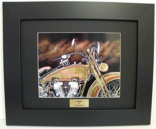Signed Hand Vintage (Limited Edition Custom Framed Motorcycle Art print, Vintage 1928 JD Harley Davidson, Hand Signed Numbered Wall Art with Certificate - Original Painting by John Guillemette)