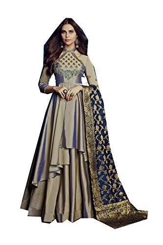 (FourCorners2013 Indian Women Designer Partywear Ethnic Diwali Traditonal Silver Readymade Dress )