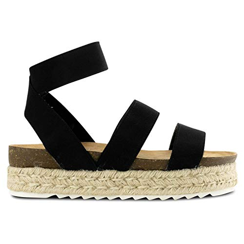 Womens Casual Slide On Espadrille Platform Sandals Comfort Ankle Elastic Strap Flatform Wedge Sandals (Black,5 M US)