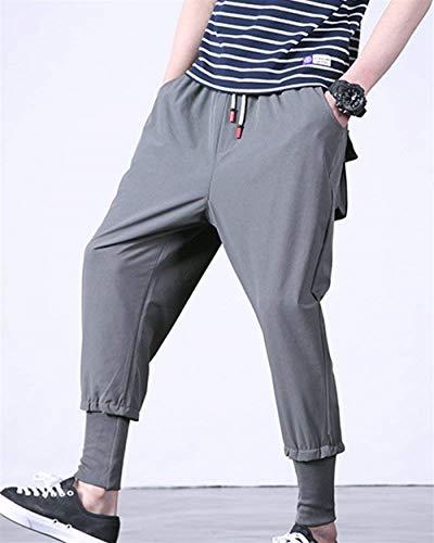 De Pantalon Avec Sport Hommes Grau Latérales Vêtements Harems Massif Unie Saoye Poches Pour Couleur Mode Corde H5qqE
