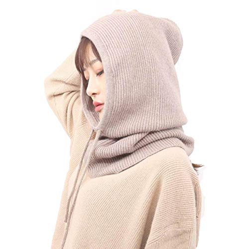 (Facecozy Women Winter Cashmere Knit Hooded Collar Detachable Elastic Cap Warm Thick Wool Scarf Drawstring Beam Cap (Camel))
