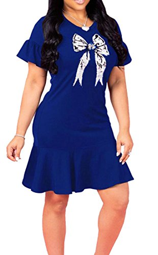 Summer Blue Mini Slim Fit Sequin Womens Sleeve Ruffle Party Dress Casual Domple Short 7EwgUnT8q