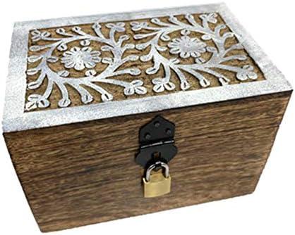 Baúl de madera para juguetes de 24 piezas, con candado, cofre del tesoro con cerradura, caja de regalo, regalo de cumpleaños, cerrar, con tapa (flor blanca 18 x 12 x 12 cm): Amazon.es: Hogar