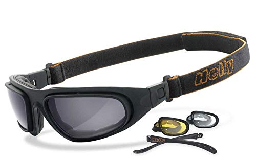 HELLY® – No.1 Bikereyes® | Motorradbrille, Multifunktionsbrille, Bikerbrille | beschlagfrei, winddicht | Inkl. Nacht…