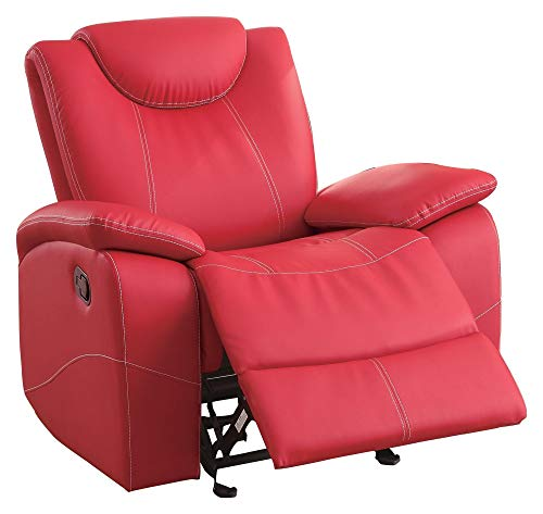 Tagnon 3PC Set Double Reclining Sofa, Glider Console Love Seat & Recliner Chair in Red Leather