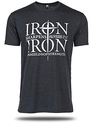 Iron Sharpens Iron, Midnight Navy Shirt-Proverbs 27:17
