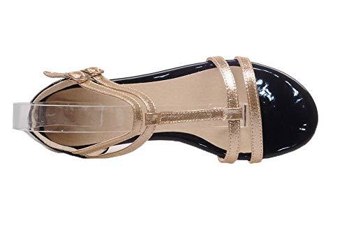 Sandalias Vestir Gold Hebilla Tacón de con Puntera AgooLar Abierta PU Mujeres Mini 8OxPavB