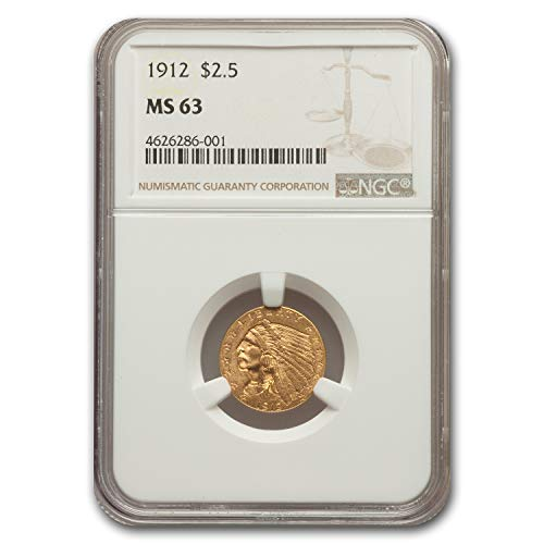 1912 $2.50 Indian Gold Quarter Eagle MS-63 NGC $2.50 MS-63 NGC