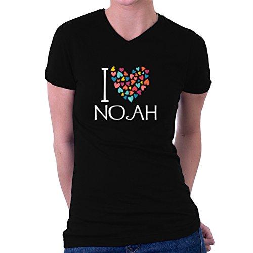 I love Noah colorful hearts Women's V-Neck T-Shirt