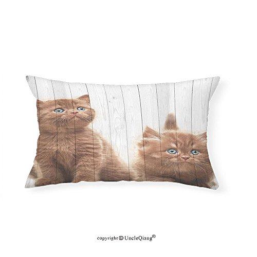 VROSELV Custom pillowcasesAnimal Decor Cute Kittens Baby Cats Sweet Feline Kids Nursery Child Kitty Theme Artwork for Bedroom Living Room Dorm Caramel White(16''x20'') by VROSELV