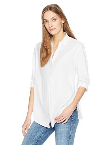 NYDJ Women's Classic Lawn Shirt, Optic White, XL
