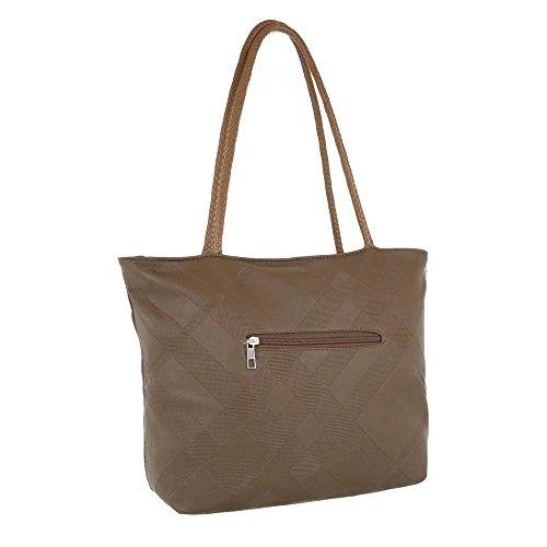 iTal-dEsiGn Damentasche Mittelgroße Schultertasche Handtasche Kunstleder TA-F3589 Braun EZ75Slw