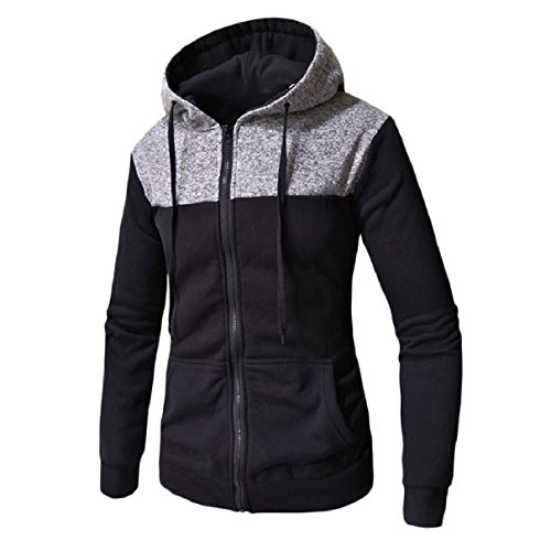 up Men Slim Top Grey RkBaoye Relaxed Zip Hooded Fit Fit Light Patched Jacket Autumn qpqcgT0w