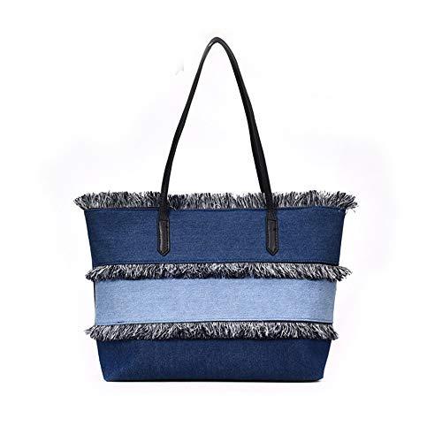 couture PIP main LANDONA sac Star Te en flux avec sac paquet bleu un grand clair épaule toile denim nouvelle Sutuo à tissu P4ZpPAq