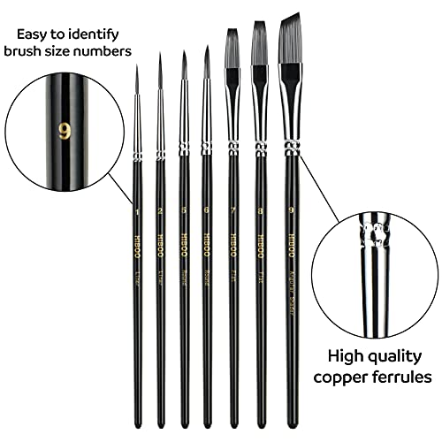 HIBOO Art Paintbrush Set-21 Different Sizes of Copper Ferrule Professionals Paint Brushes Includes Pop-up Carrying Case with 16 Paint Brushes , 1 Paint Tray, 2 Palette Knife and 2 Sponges