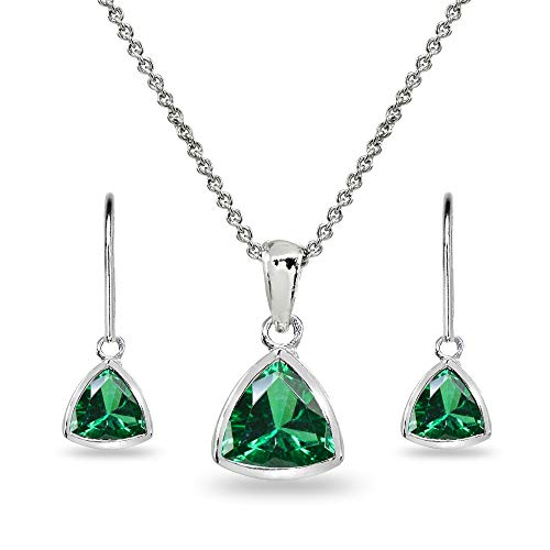 Sterling Silver Simulated Emerald Trillion Bezel Pendant Necklace & Dangle Earrings Set for Women, Teen Girls