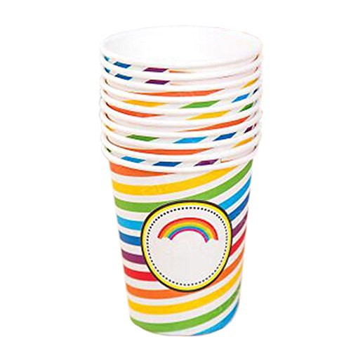 Rainbow Stripes Office/Home Disposable Cup Water Paper Cup, 40 Count