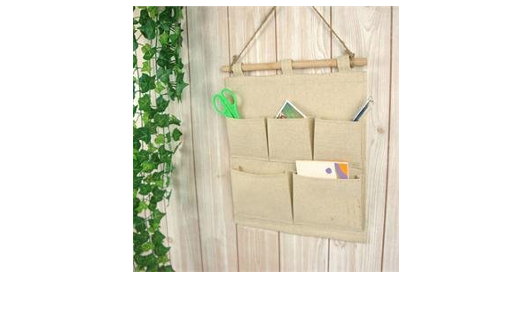 ba/ño decoraci/ón del hogar sobre la puerta 5 bolsillos de yute para colgar en la pared cocina organizador para colgar en la habitaci/ón