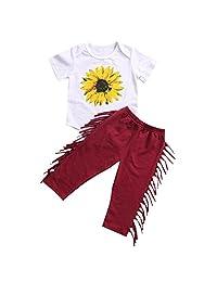 2Pcs Newborn Baby Girl Clothes Sunflower Romper + Tassel Long Pants Outfit Set