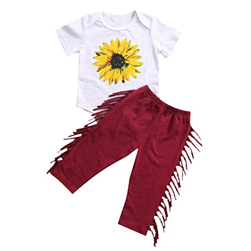 2Pcs Newborn Baby Girl Clothes Sunflower Romper + Tassel Long Pants Outfit Set (0-6M, Red)