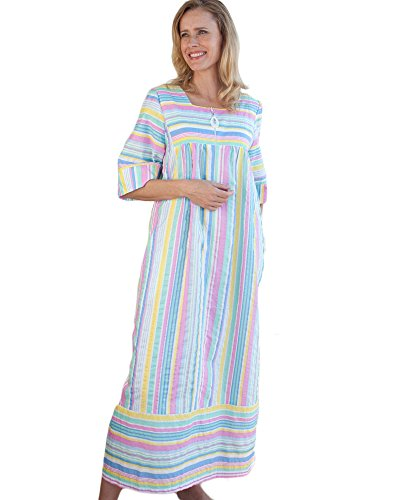 National Striped Plisse Lounger, Multi Stripe, 1X Plus