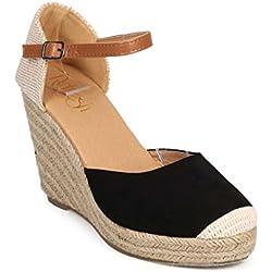 Refresh DI93 Women Mix Media Cap Toe Ankle Strap Espadrille Wedge - Black (Size: 7.0)