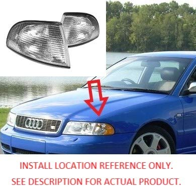 B5 TopPick Corner Lights FOR Audi A4 S4 1996-1999 Clear//Chrome 8D0953049-C-8D0953050-C