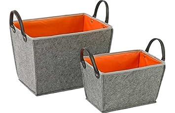 Set Of 2 Felt Storage Boxes With Handles   Orange.