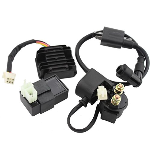 GOOFIT Ignition Coil AC CDI Voltage Regulator Rectifier Relay Kit for CG150cc 200cc 250cc Vertical Engine Chinese ATV (200cc Gy6 Engine)