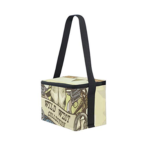 Bag Skull Picnic Lunchbox Per Cooler Tracolla Mucca Cool West Lunch wE7qdp6w