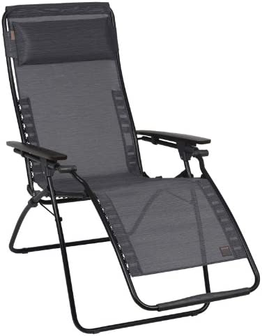 Lafuma LFM3056-6897 Futura Zero Gravity Recliner - Black Frame with Obsidian Natural Batyline Fabric
