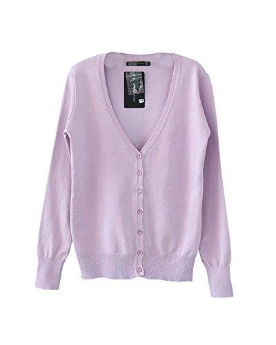 A Giacca Donna V Pink A Maglione Scollo Manica Con Viola A Cardigan Bottoni Lavorato Lunga Maglia xYTrwvp0Yq