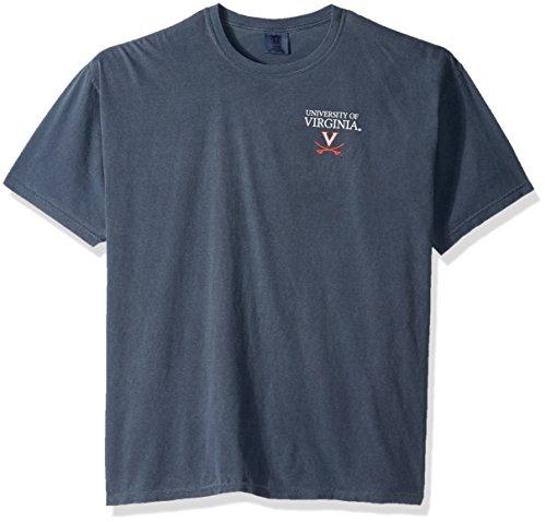 NCAA Virginia Cavaliers Simple Circle Lines Short Sleeve Comfort Color Tee, Denim,Large